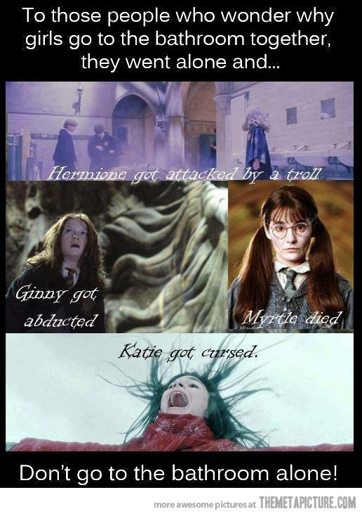 Why girls go the the bathroom together…Girls, Laugh, Harrypotter, Life Lessons, Funny, Bathroom Alone, So True, Harry Potter Humor, True Stories