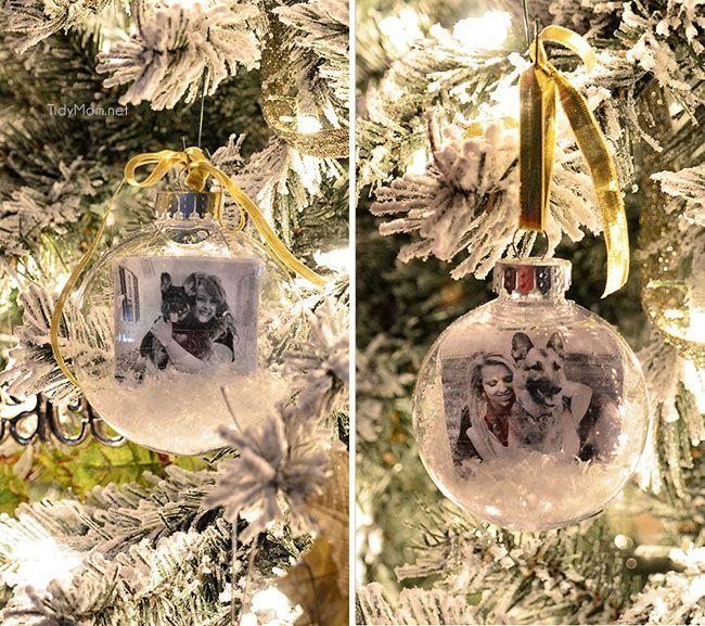 Homemade Snow Globe Photo Ornament Clear christmas