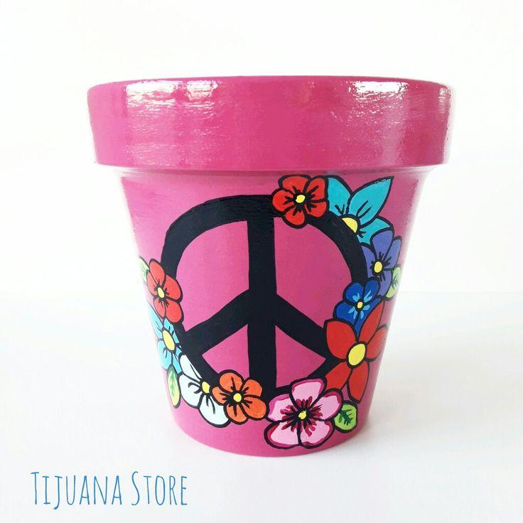 Signo de la paz macetas pintadas a mano un Tijuana Store ❤☝