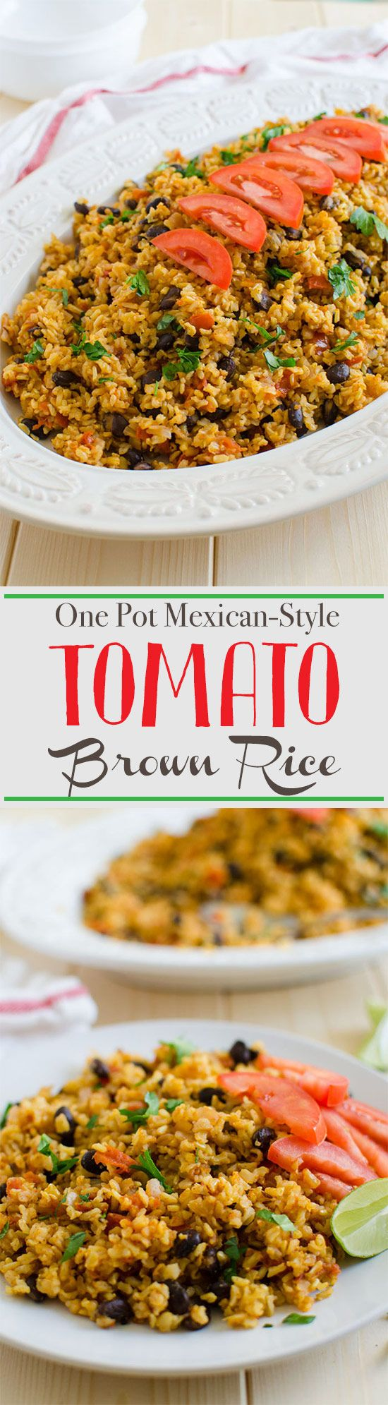 Healthy Mexican style tomato rice prepared using brown rice and fresh tomatoes. Also contains healthy proteins and is rich in dietary fibers. Great for weight watchers. It is vegan too