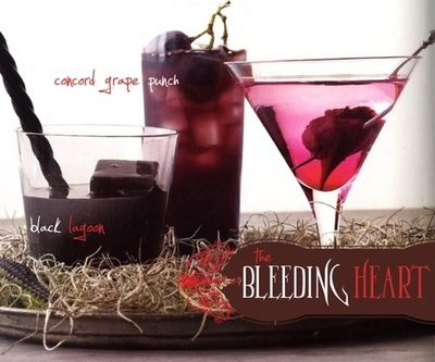 """... Bleeding Heart: a martini with a pickled beet that """"bleeds"""" from a"""