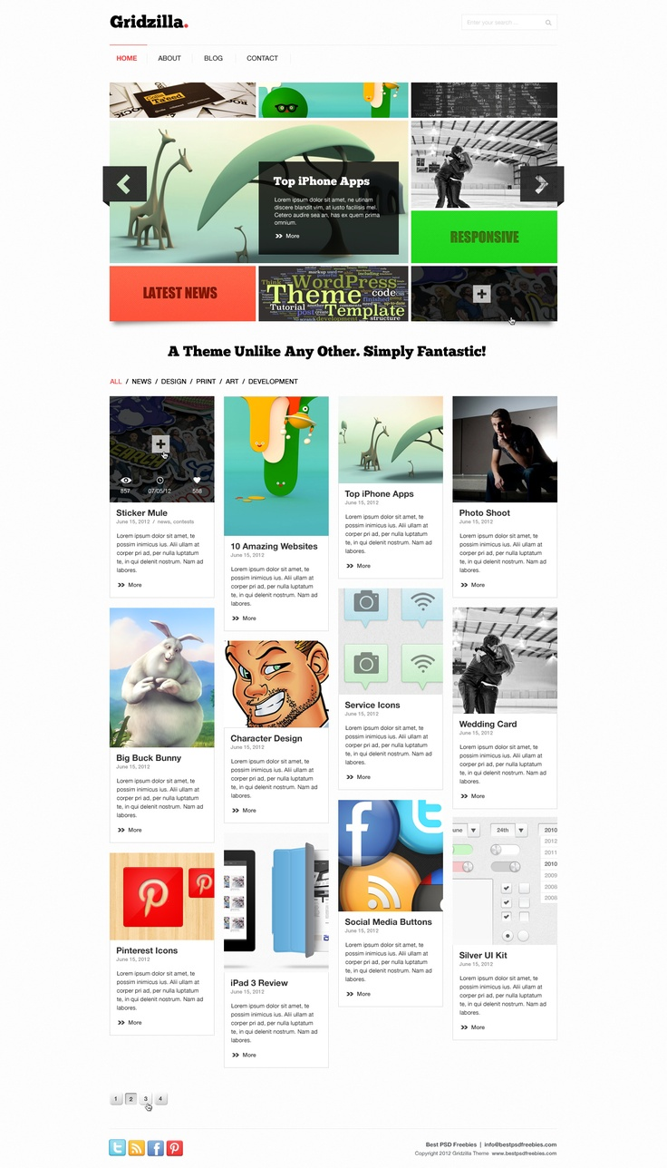 Free Gridzilla PSD Theme Home Page | Best PSD Freebies