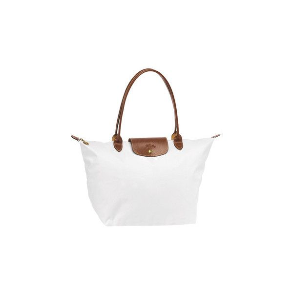 Longchamp Le Pliage Large Folding Tote White (€81) ❤ liked on Polyvore featuring bags, handbags, tote bags, purses, accessories, bolsas, longchamp tote bag, zip top tote bag, nylon tote and purse tote