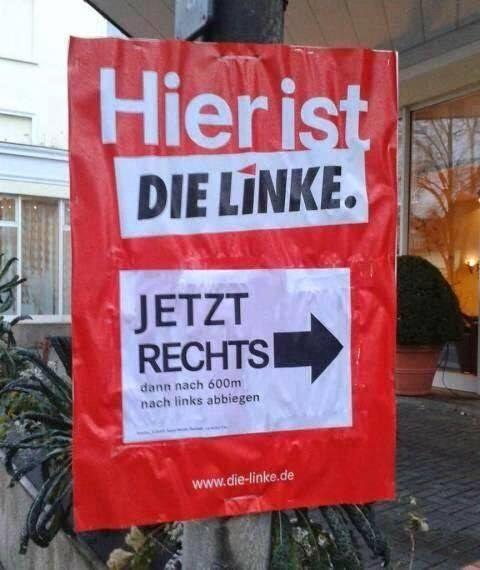 Die neue Linke:   27 Schilder, die einfach sehr viele Fragen aufwerfen