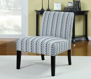 Coaster Blue And Beige Leaf Pattern Armless Accent Chair