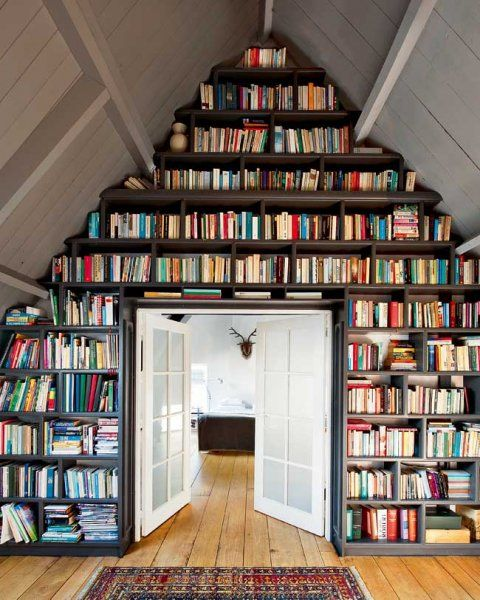 Love!  FLOOR TO CEILING BOOKSHELVES,