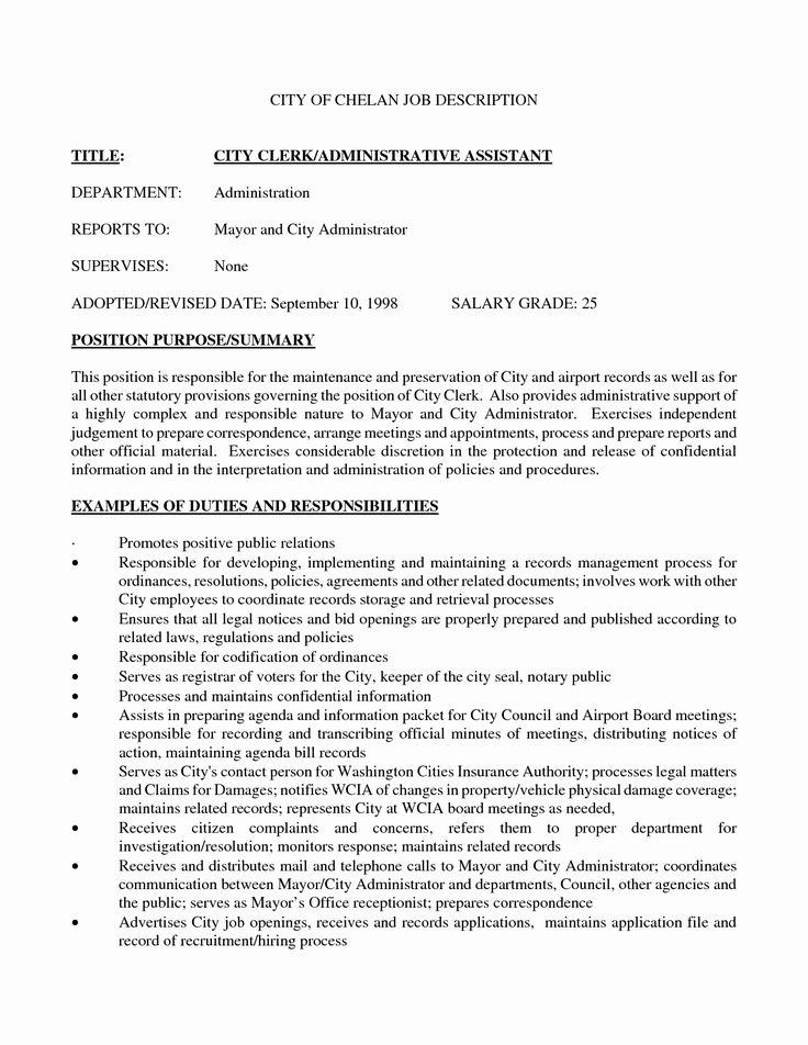 Admin assistant Job Description Resume Unique