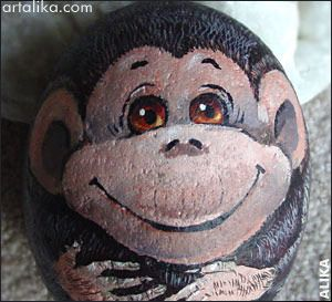 painted animal rocks | Hand painted rock. My daughter's monkey collection
