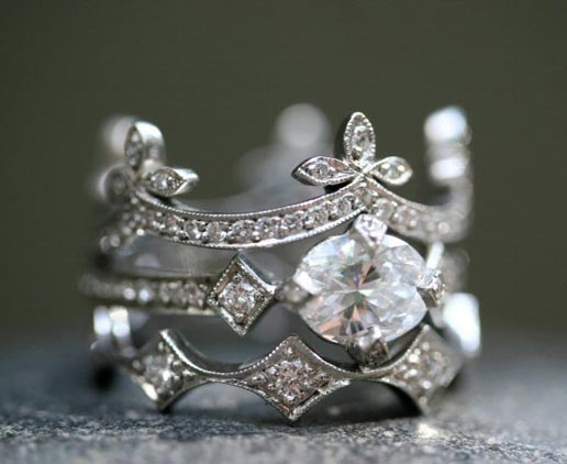 Cathy Waterman - Platinum / Diamond Half Ribbon Band & Platinum / Diamond One-of-a-Kind Antique Prong Ring & Platinum / Diamond Elongated Geo Band