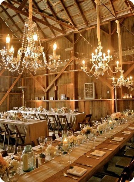 Barn Wedding Reception With Chandelier Lighting Weddingvenuerusticwedding