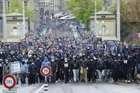 """THOUSANDS OF PEOPLE IN EUROPE TAKE TO THE STREETS TO DRIVE OUT ISLAM - Europe is known for its soccer fan clubs who are widely called """"soccer hooligans"""". Thes call themselves the GnuHonnters, a take on the English term """"new hunters.' Their motto is """"Comrades in spirit. Many colors, but..."""