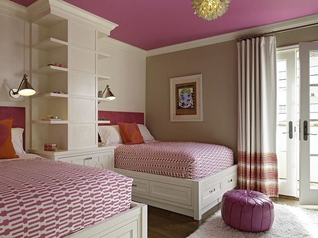 awesome-pink-twin-teenage-girls-bedroom-ideas-with-vivaTerra-lotus-flower-chandelier-also-boston-functional-library-wall-light-as-well-as-annie-selke-links-fabric-plus-ottoman love the colored ceiling