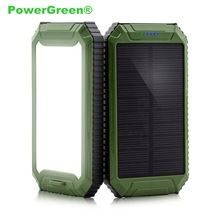 PowerGreen Quick Charging Dual Outputs LEDs & Carabiner Design 10000mAh Solar Charger Power Bank for LG Phones