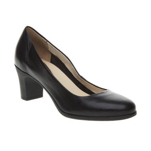 Černé kožené lodičky flexible, černá, 624-6393 - 13