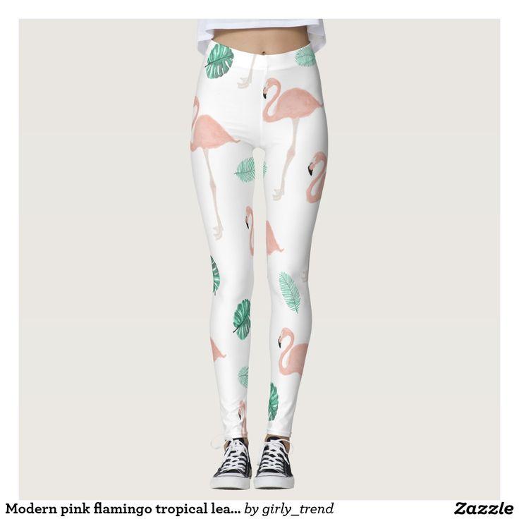 Modern pink flamingo tropical leaf watercolor leggings