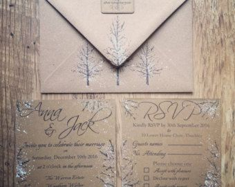 Vintage Book Winter Wedding Invitation Set Snow and by vohandmade