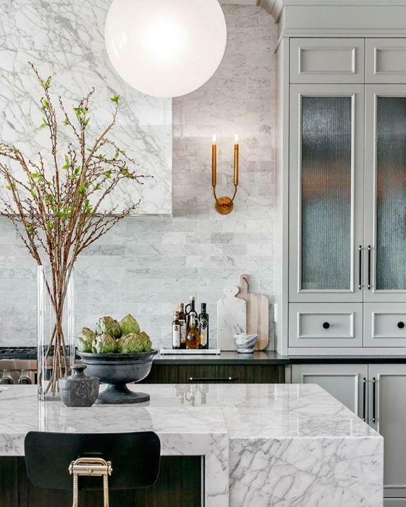 Striking Veining In The Marble. Kitchen Island DecorKitchen ...