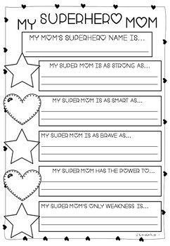 mother 39 s day writing and craft my mum is a superhero first grade fun mothers day crafts. Black Bedroom Furniture Sets. Home Design Ideas