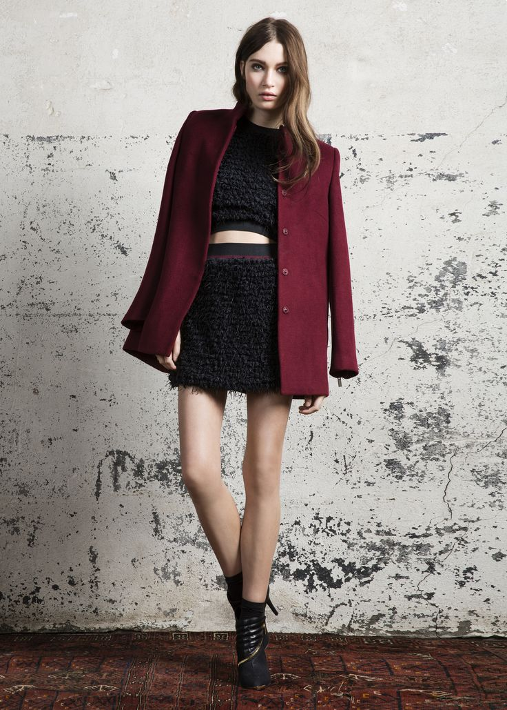 Karl top. Sparrow skirt, Obsession coat & Leigh booties #Karl #top #Sparrow #skirt #Obsession #coat #Leigh #booties #AW14 #Lookbook #SuperTrash