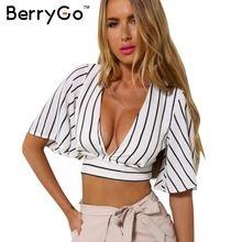 BerryGo полосатый глубокий v шеи девушки 90 s boho обрезанные топ Лето sexy women пляжная одежда короткие crop топы blusas(China (Mainland))