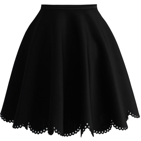 Petal Airy Skater Skirt in Black ❤ liked on Polyvore featuring skirts, travel skirt, petal skirt, dot skirt, skater skirts and flared skirt