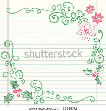 stock vector : Hand-Drawn Christmas Holly Leaves Sketchy Notebook Doodles Border with Poinsettias and Swirls- Vector Illustration Design Elements on Lined Sketchbook Paper Background