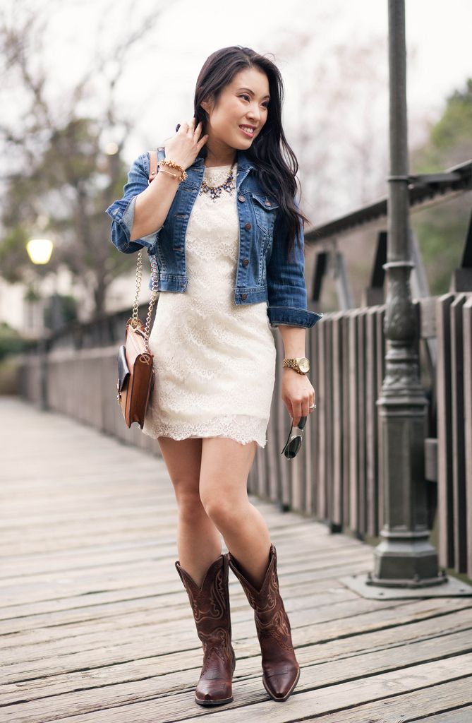 http://cuteandlittle.com | petite fashion blog | cropped denim jacket, lace sheath dress, ariat heritage western x-toe vintage caramel cowboy boots outfit