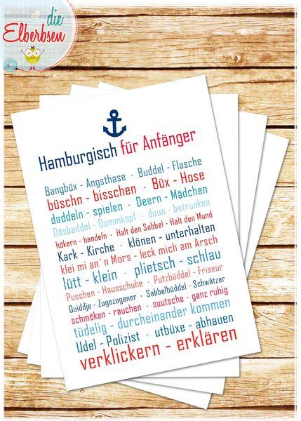 Postkarte HAMBURGISCH FÜR ANFÄNGER von die elberbsen auf DaWanda.com
