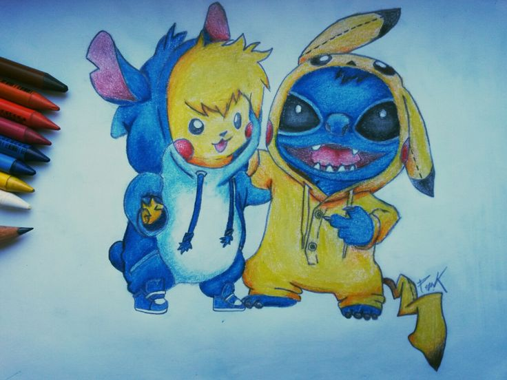 It's completed  Best friends forever  #pikachu #stitch #pikachuandstitch #pokemon #liloandstitch #kawaii #friendship #true #love #bestfriendsforever #BFF #cute #ilovetheir #draw #drawing #art #paper #painting #blackandwhite #colour #yellowandblue