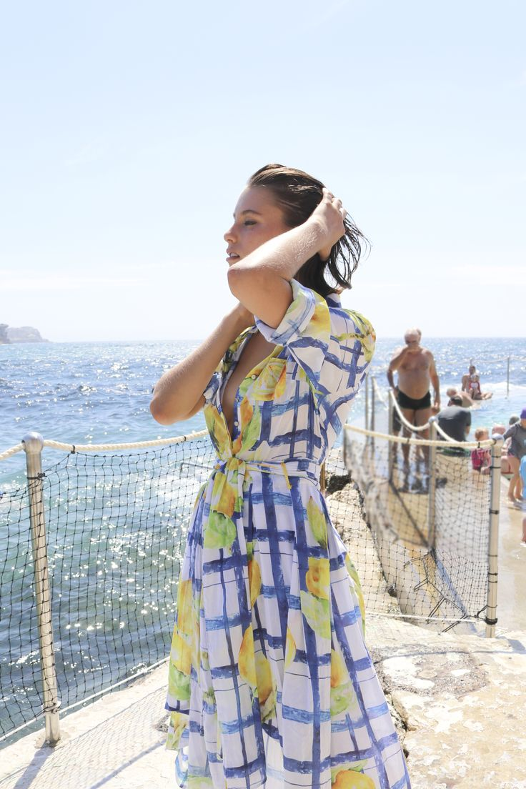 Britt Odell wears Aje Piastrella Shirt Dress in Lemon Print. #AjeTheLabel #AjeInsider #AjeGirl #Fashion #Style #BronteBeach #Australia #Summer #Fun #Model #Creative #Love #Beach