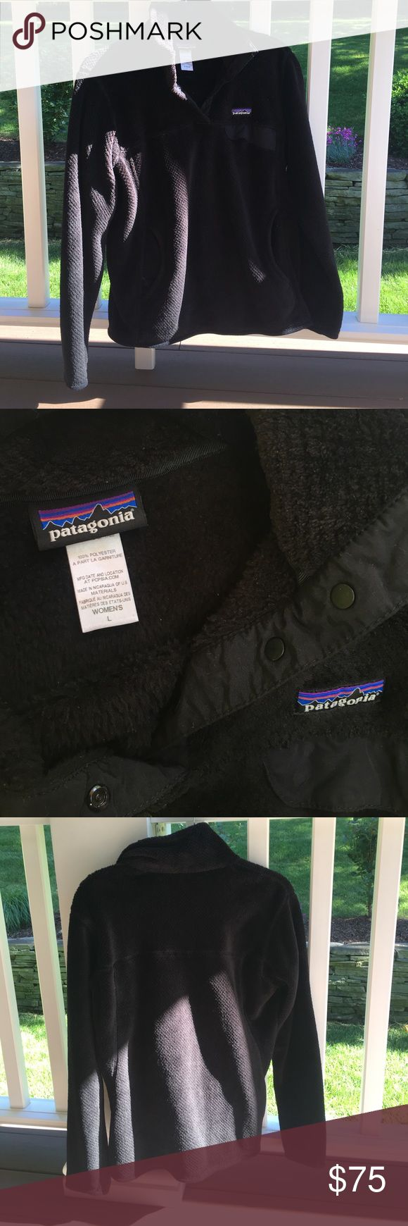 Patagonia Women's Fleece Patagonia 'W's Re-Tool Snap-T Pullover' fleece in black! Worn only a handful of times, basically brand new. Excellent condition, no rips or any flaws! Size L Patagonia Tops Sweatshirts & Hoodies