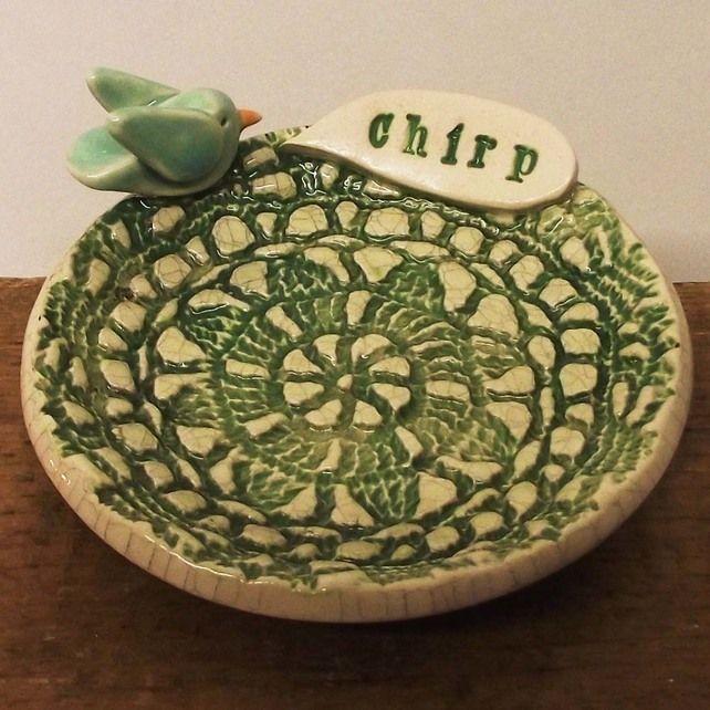 Little Green ceramic bird dish Pottery plate £13.00