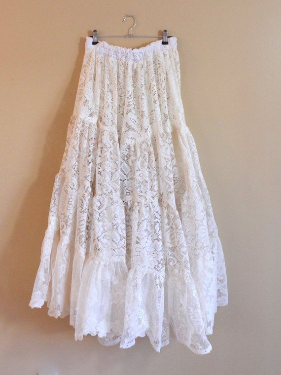 86bd0817a95ddd Boho Patchwork Lace Bridal Maxi Skirt High Waisted Full A-Line Vintage Lace  Ivory Handmade Skirts fo
