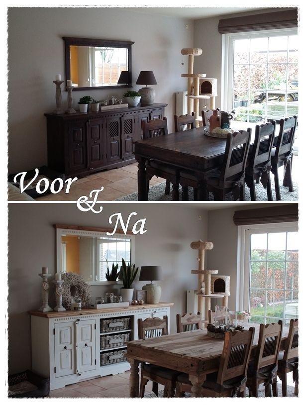 Van koloniaal naar landelijk. 2 deurtjes van dressoir in het midden zijn weggelaten en vervangen door manden van Mandenstijl.nl! Tafel en stoelen zijn gewoon blank teak gebleven!