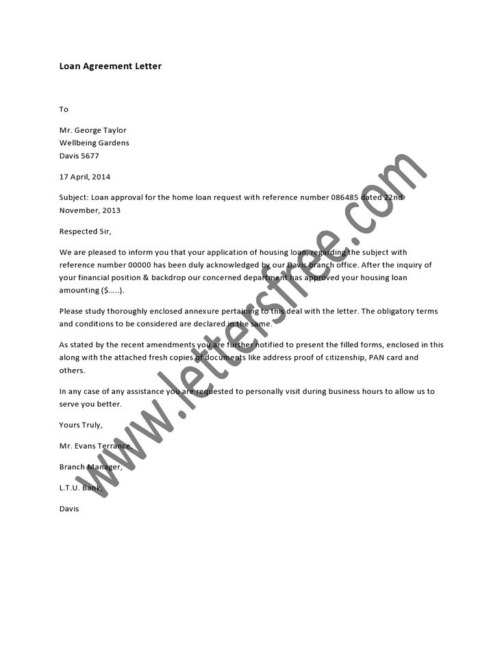 Loan Agreement Letter is usually a written contract between a - eviction letter