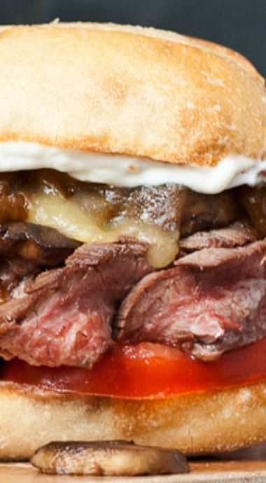 Grilled Flank Steak Sandwiches with Caramelized Onions and Mushrooms ...