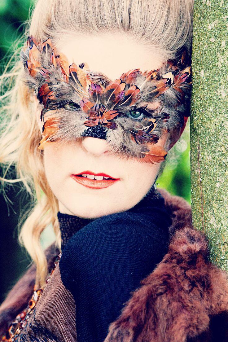 Lady Sqirrel Mask created by Alisa Ann Tetreault Clothing: Most Everything Vintage Model: Charlotte Deason Photographer: May Faith Photography, Hair: Ashley Rauch, MUA: Kandie Smith Salon  #squirrel #squirrelmask #ladysquirrel #squirrelphotograph #creativesquirrel #animalmask #creativeanimalmasks #creativephotography #vancouverwashington