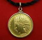 10 Head Gold Coin - 1913 10 Indian Head Eagle Gold Coin 1 2 oz gold Pendant Set in 14KYGold Bezel http://www.10dollargoldcoin.net/10-head-gold-coin/#