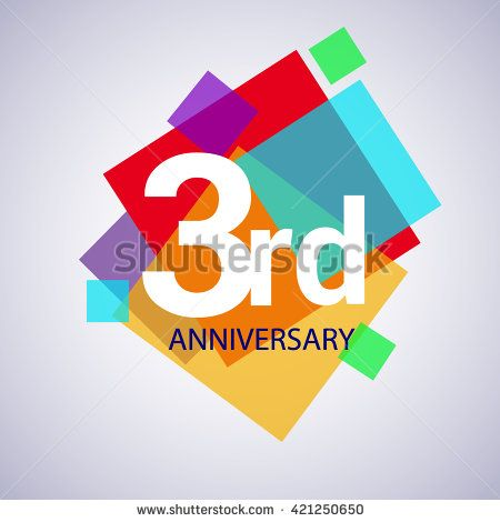 3rd anniversary logo, 3 years anniversary colorful vector design. geometric background. - stock vector