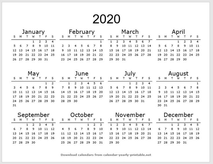 Calendar Printable in 2020 Calendar printables, 2020