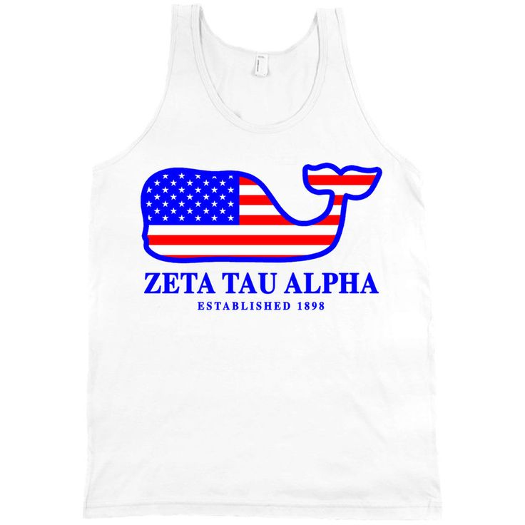 Zeta Tau Alpha USA Flag Whale American Apparel Tank Top ZTA Shirt NEW #AmericanApparel #TankTop