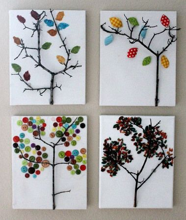 "Tree art from ""real"" branches - find some backyard twigs to serve as your tree's trunk, then glue on your leaves of choice.  Kids activities curated by SavingStar. Get free grocery coupons at savingstar.com"