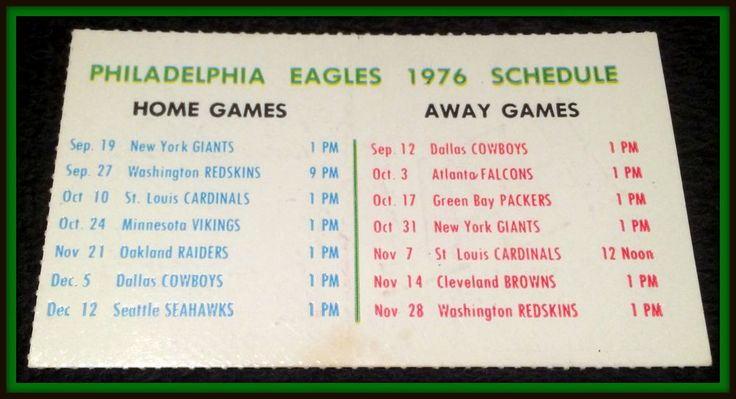 1976 PHILADELPHIA EAGLES HAPPY FOODS FOOTBALL POCKET SCHEDULE FREE SHIPPING #Pocket #SCHEDULE