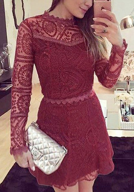 You will never go out of style with this burgundy lace A-line dress.