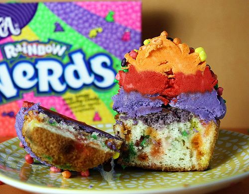 Rainbow Nerds Cupcakes. Omg. I can't believe I haven't thought of this yet! I LOVE nerds. All kinds :)