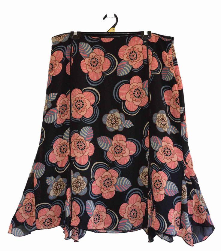 Free Postage (size 18) Ellen Tracy - Pink Floral Black Chiffon Skirt - Plus Size