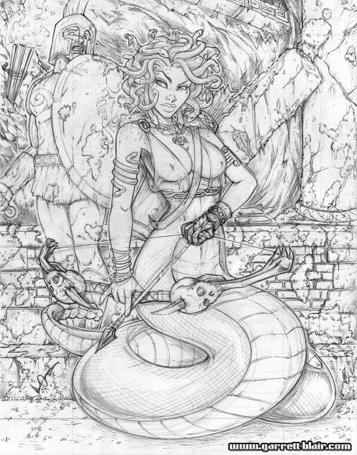 Medusa commission pencils by gb2k on DeviantArt