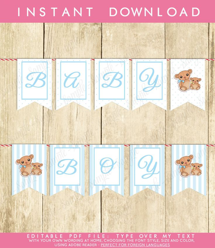 New to TppCardS on Etsy: Instant Download Blue Teddy Bear Baby Shower Banner Little Bear Bunting Banner Printable Bear Baby Shower Pendent Banner for Boy (4.50 EUR)