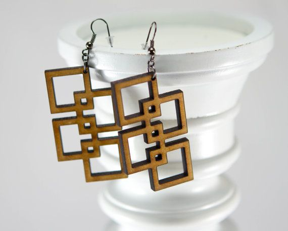 Square Geometric Earrings Unique Abstract Lightweight Wooden Earrings by JDBmercantile on Etsy, $18.00