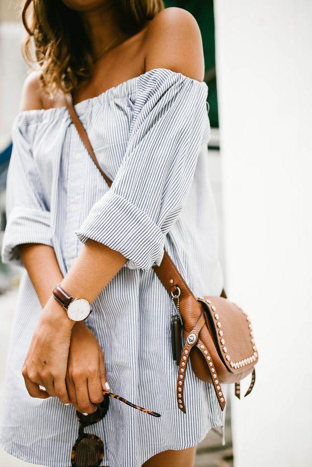 Stripe off the shoulder dress.